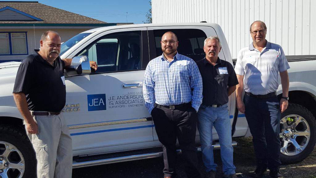 Land surveying and engineering staff at J.E. Anderson & Associates' new Campbell River office (l-r) Colin Burridge, Mike Puszka, Stewart Bell and Jim Buchanan.
